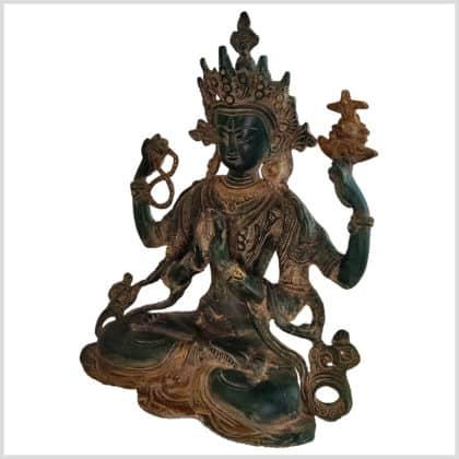 Avalokiteshvara dunkelgrünantik 28cm Seite links