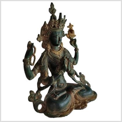 Avalokiteshvara dunkelgrünantik 28cm Seite rechts