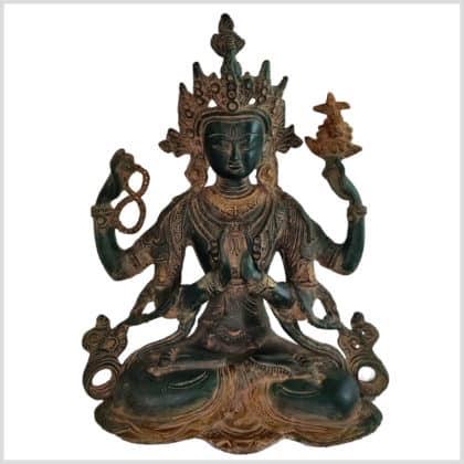 Avalokiteshvara dunkelgrünantik 28cm Vorne