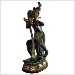 Krishna mit Nandi grüngold 4,5kg Seite rechts