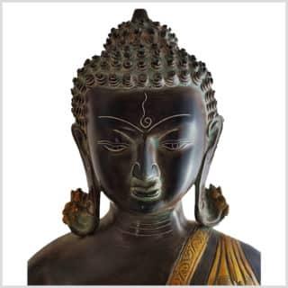 Medizinbuddha Messing 51cm antikbraungrün Gesicht