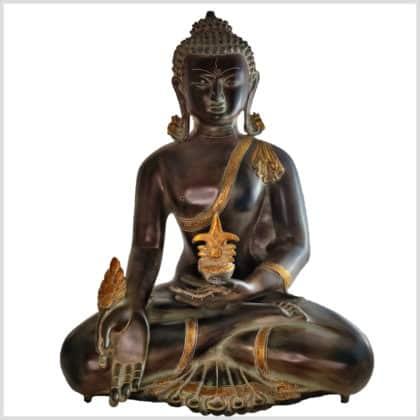 Medizinbuddha Messing 51cm antikbraungrün Vorne