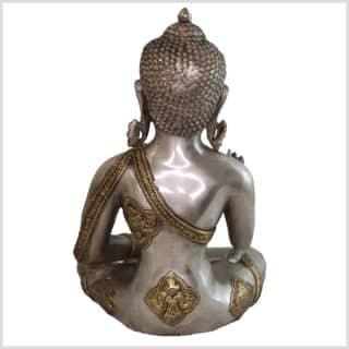 Lehrender Buddha Ashtamangala Messing Silber 6kg hinten