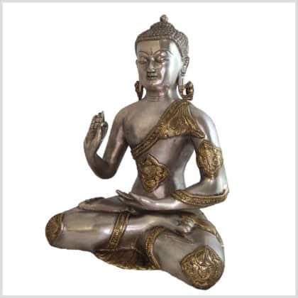 Lehrender Buddha Ashtamangala Messing Silber 6kg Seite links