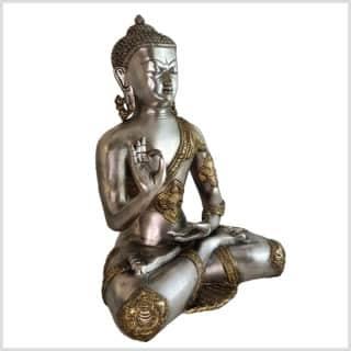Lehrender Buddha Ashtamangala Messing Silber 6kg Seite rechts