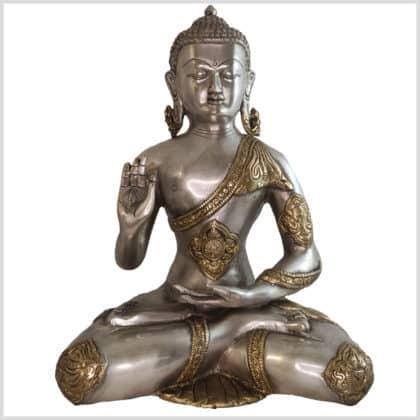 Lehrender Buddha Ashtamangala Messing Silber 6kg Vorne
