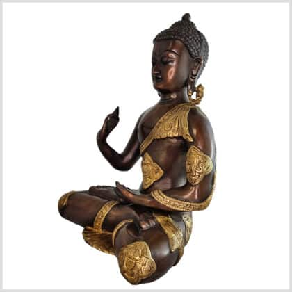 Lehrender Buddha Ashtamangala Messing Kupfer 29cm Seite links