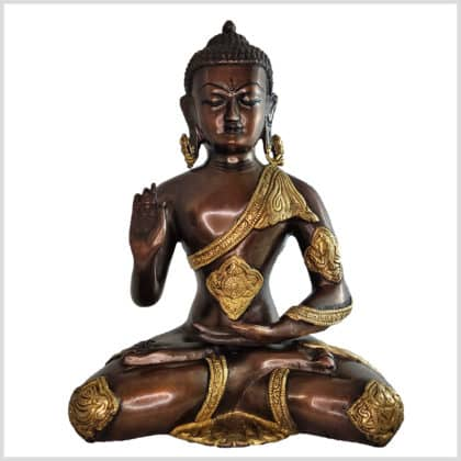 Lehrender Buddha Ashtamangala Messing Kupfer 29cm vorne
