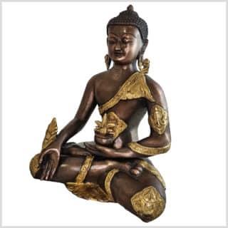 Medizinbuddha Ashtmangala Messing Kupfer 29cm Seite links