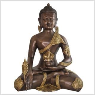 Medizinbuddha Ashtmangala Messing Kupfer 29cm vorne