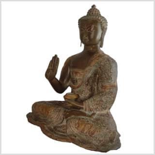 Segnender Buddha Abahaya Mudra beigebraun Seite links