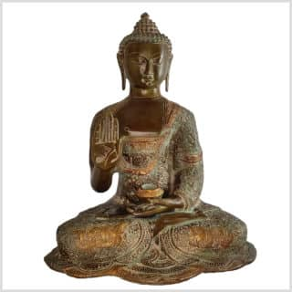 Segnender Buddha Abahaya Mudra beigebraun Vorne