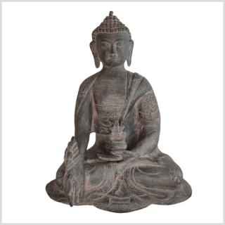 Medizinbuddha Ashtamangala 25cm steingrau vorne