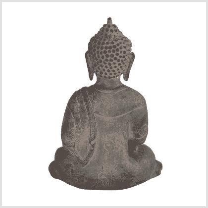 Medizinbuddha Ashtamangala 25cm steingrau hinten