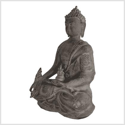 Medizinbuddha Ashtamangala 25cm steingrau links