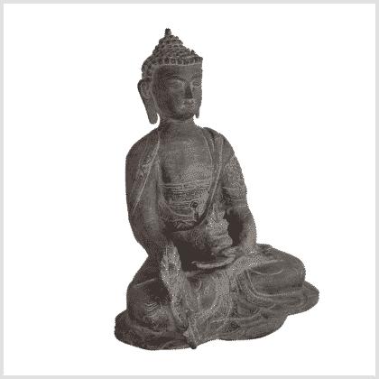Medizinbuddha Ashtamangala 25cm steingrau rechts
