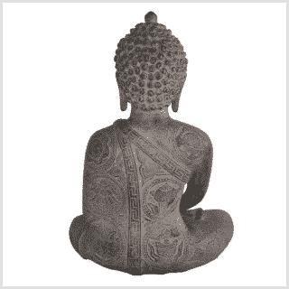 Erleuchteter Buddha 32cm steingrau hinten