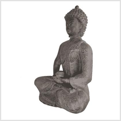 Erleuchteter Buddha 32cm steingrau Seite links