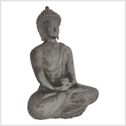 Erleuchteter Buddha 32cm steingrau Seite rechts