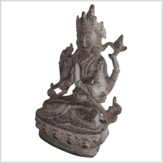Avalokiteshvara Statue Messing granitgrau 20cm Handarbeit aus Nepal links
