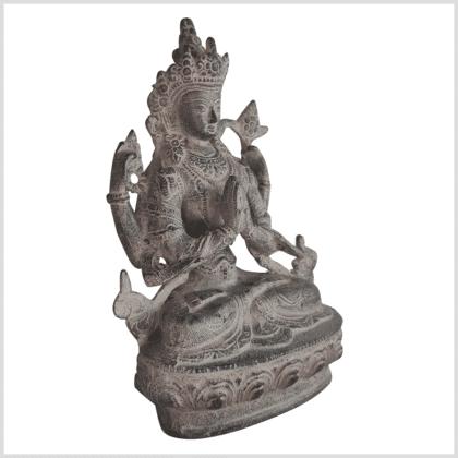 Avalokiteshvara Statue Messing granitgrau 20cm Handarbeit aus Nepal rechts