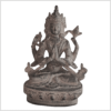 Avalokiteshvara Statue Messing granitgrau 20cm Handarbeit aus Nepal Vorne