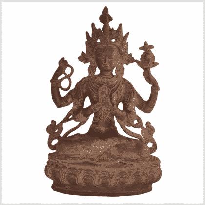 Avalokiteshvara Messing rostbraun 34cm Vorne