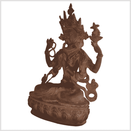 Avalokiteshvara Messing rostbraun 34cm links