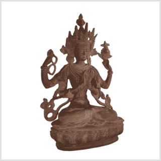 Avalokiteshvara Messing rostbraun 34cm rechts