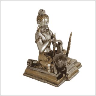 Buddha mit Schwan Messing versilbert Rechts