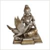 Buddha mit Schwan Messing versilbert 23cm Vorne