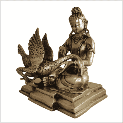 Buddha und der Schwan Messing 23cm Seite links