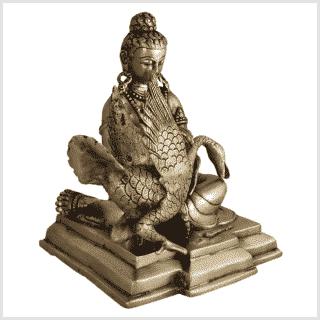 Buddha und der Schwan Messing 23cm Seite rechts