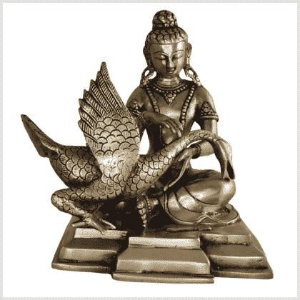 Buddha und der Schwan Messing 23cm Vorne