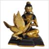 Buddha und der Schwan 23cm braungold vorne