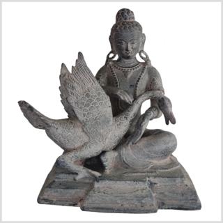 Buddha und der Schwan Messing steingrau vorne