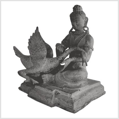 Buddha und der Schwan Messing steingrau Seite links