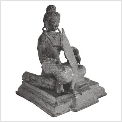 Buddha und der Schwan Messing steingrau Seite rechts