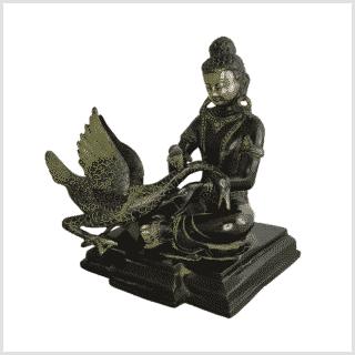 Buddha mit Schwan Messing schwarzgold links