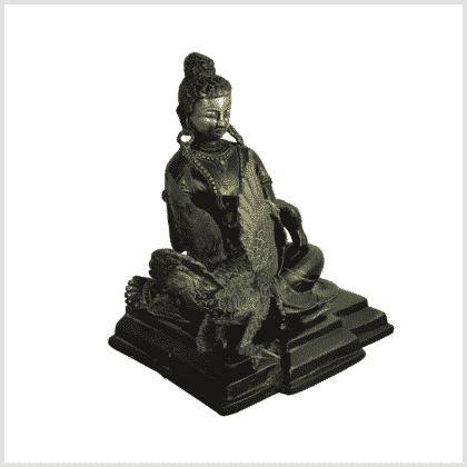 Buddha mit Schwan Messing schwarzgold rechts