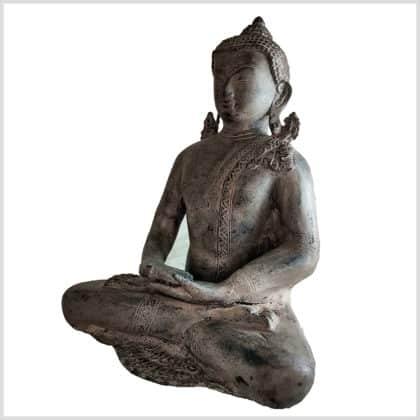 Erleuchteter Buddha Messing steingrau 5,9kg 31cm Seite Links