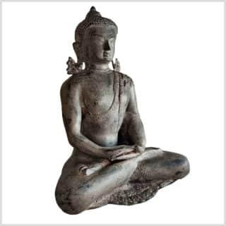Erleuchteter Buddha Messing steingrau 5,9kg 31cm Seite rechts