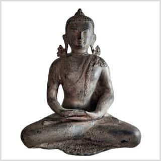 Erleuchteter Buddha Messing steingrau 5,9kg 31cm Vorne