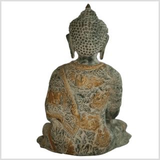 Erleuchteter Buddha 29cm altgrün hinten