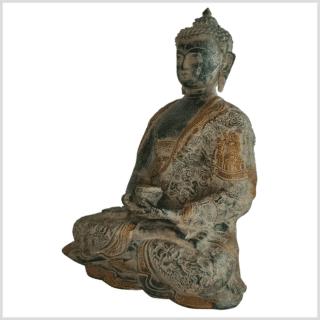 Erleuchteter Buddha 29cm altgrün Seite links