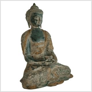 Erleuchteter Buddha 29cm altgrün Seite rechts