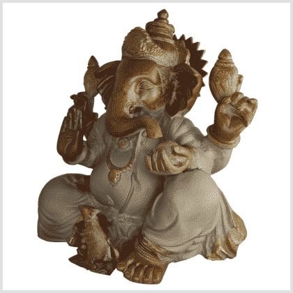 Ganesha Messing sandbeige 35,5cm Seite links