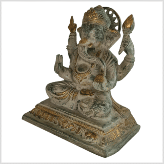 Chakra Ganesha 22cm Messing grünantik Seite links