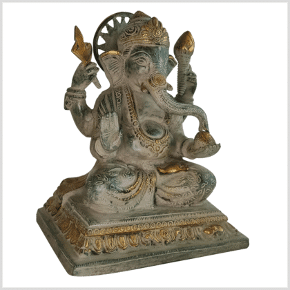 Chakra Ganesha 22cm Messing grünantik Seite rechts