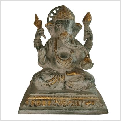Chakra Ganesha 22cm Messing grünantik